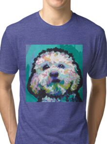 Poodle Maltipoo Dog Bright colorful pop dog art Tri-blend T-Shirt