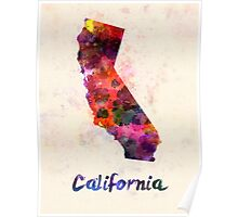California US state in watercolor Poster