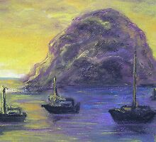 Sunset at Morro Rock (Pastel) by Niki Hilsabeck