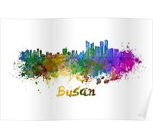 Busan skyline in watercolor Poster
