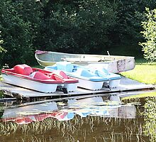 Cabot Cove Lake Paddle Boats & Dorry by Leslie van de Ligt