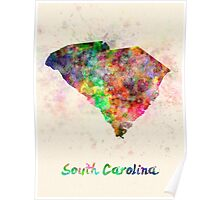 South Carolina US state in watercolor Poster