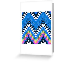 Bohemian print with chevron pattern in blue colors Greeting Card