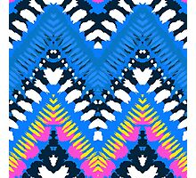 Bohemian print with chevron pattern in blue colors Photographic Print