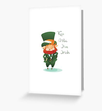 Kiss Me I'm Irish with cute chibi cartoon Leprechaun Greeting Card