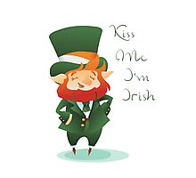 Kiss Me I'm Irish with cute chibi cartoon Leprechaun Photographic Print