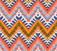 Bohemian print with chevron pattern in natural warm colors by tukkki