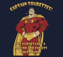 Captain tourettes he curses like a sailor and fights like a girl Kids Clothes
