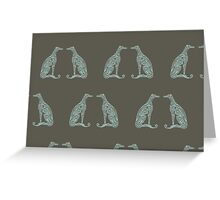Double Greyhounds - Olive/Aqua Greeting Card