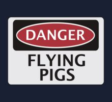 DANGER FLYING PIGS, FUNNY FAKE SAFETY SIGN Kids Clothes
