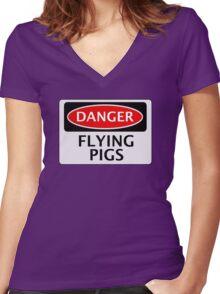 DANGER FLYING PIGS, FUNNY FAKE SAFETY SIGN Women's Fitted V-Neck T-Shirt