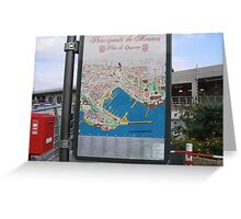 Signpost and Map -Monaco Greeting Card