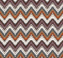 Bohemian print with chevron pattern in light brown colors by tukkki