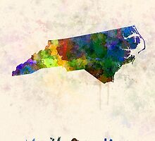 North Carolina US state in watercolor by paulrommer