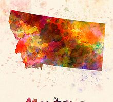 Montana US state in watercolor by paulrommer