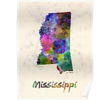 Mississippi US state in watercolor Poster