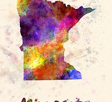 Minnesota US state in watercolor by paulrommer