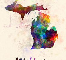 Michigan US state in watercolor by paulrommer