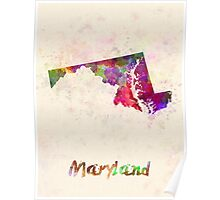 Maryland US state in watercolor Poster