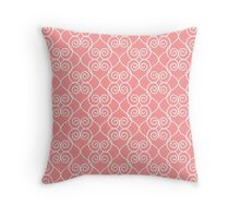 White & Coral hearts Throw Pillow
