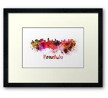Honolulu skyline in watercolor Framed Print