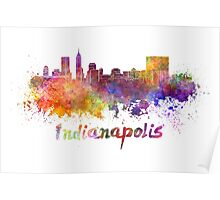 Indianapolis skyline in watercolor Poster