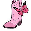 Pink Cowgirl Boot & Butterfly by Rachel Counts