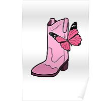 Pink Cowgirl Boot & Butterfly Poster