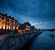 Evening at the Seine Paris France by MiImages