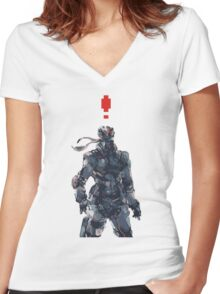 Retro Solid Snake Women's Fitted V-Neck T-Shirt
