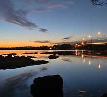 Toukley Bridge & Tuggerah Lake. by Warren  Patten