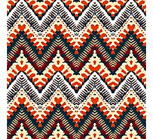 Bohemian print with chevron pattern in organic retro colors Photographic Print