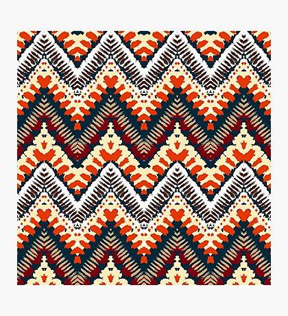 Bohemian print with chevron pattern in organic retro colors Photographic Print