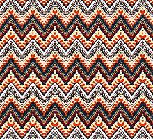 Bohemian print with chevron pattern in organic retro colors by tukkki