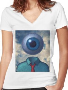 Eye'm Watching You Women's Fitted V-Neck T-Shirt