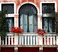 Balcony with Geraniums - Venice by Ruth Durose