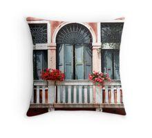 Balcony with Geraniums - Venice Throw Pillow