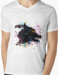 Aztec Wolf Mens V-Neck T-Shirt