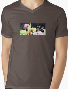 Pink & Yellow Flowers Mens V-Neck T-Shirt