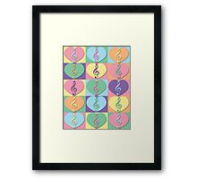 Treble Clefs and Hearts Framed Print