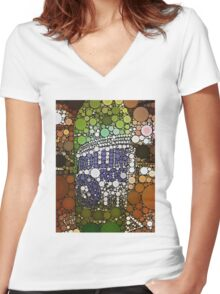 Abstract Rolling Rock II Women's Fitted V-Neck T-Shirt