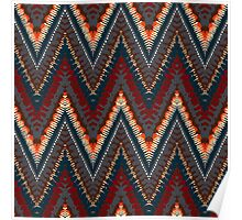 Bohemian print with chevron pattern in dark colors Poster
