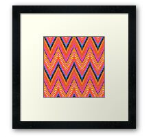 Bohemian print with chevron pattern in bright orange color Framed Print