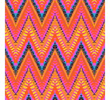 Bohemian print with chevron pattern in bright orange color Photographic Print
