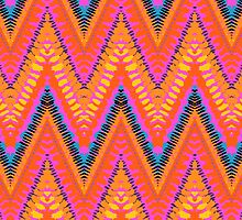 Bohemian print with chevron pattern in bright orange color by tukkki