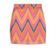 Bohemian print with chevron pattern in bright orange color Mini Skirt