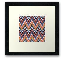 Bohemian print with chevron pattern in cool colors Framed Print