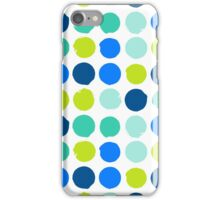 Print with randomly colored circles in bight blue green colors iPhone Case/Skin
