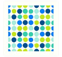 Print with randomly colored circles in bight blue green colors Art Print