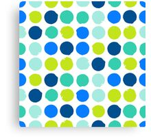 Print with randomly colored circles in bight blue green colors Canvas Print